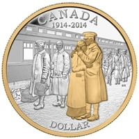2014 Canada Gold Plated Proof Silver Dollar in square capsule (No Tax)
