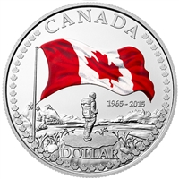2015 Canada Anniversary of the Flag Colourized Silver Dollar (No Tax) Square Capsule