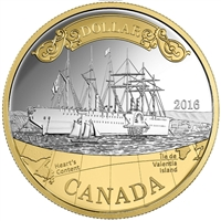 2016 Canada Gold Plated Proof Silver Dollar in square capsule (No Tax)