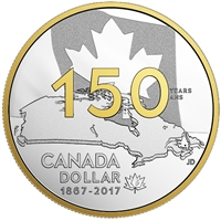2017 Canada 150th $1 Gold Plated Proof Silver Dollar (Mint Issue, w/Capsule) No Tax