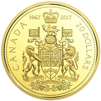 1967-2017 Canada $20 Centennial Commemorative Gold Plated Proof Silver (No Tax)