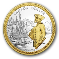 2018 Canada Captain Cook Gold Plated Proof Silver Dollar in square capsule (No Tax)