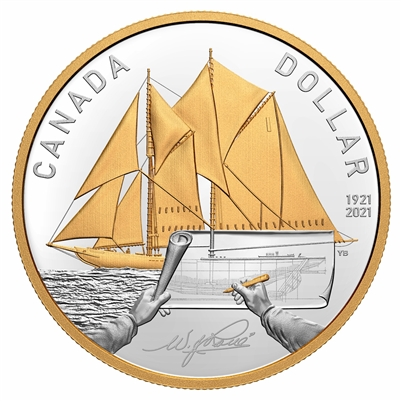 2021 Canada 100th Ann. of Bluenose Gold Plated Fine Silver in Square Capsule (No Tax)