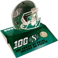 2010 Canada SK Roughriders Pop Up Helmet with Gold Plated Dollar