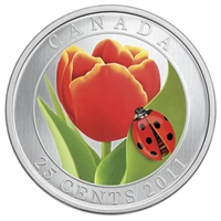 2011 Canada 25-cent Tulip with Ladybug in Card