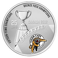 2012 Canada 25-cent Hamilton Tiger Cats CFL - Coin and Stamp Set.