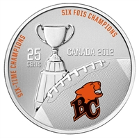 2012 Canada 25-cent BC Lions CFL- Coin and Stamp Set.