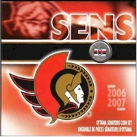2007 Canada Ottawa Senators NHL Coin Set with Colourized 25 Cents