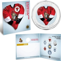 2009 Ottawa Senators NHL Coin Set with $1 coloured jersey.
