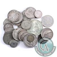 Lot of Mixed World Silver Coins - 200 grams by weight (Mega42)