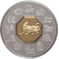 1998 Canada $15 Year of the Tiger Sterling & Gold Plated Cameo (lightly toned, scuff)