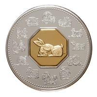 RDC 1999 Canada $15 Year of the Rabbit Sterling Silver & Gold Plated (Impaired)