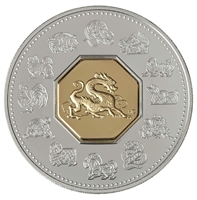 2000 Canada $15 Year of the Dragon Sterling Silver & Gold Plated Cameo (Lightly toned)