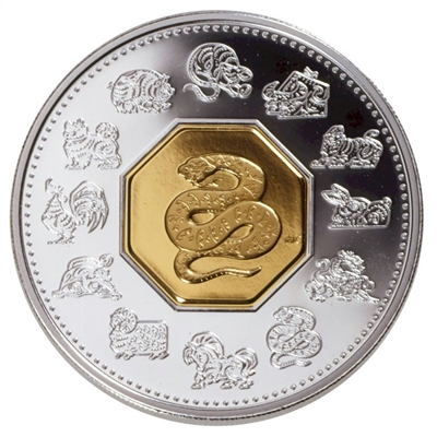 2001 Canada $15 Year of the Snake Sterling Silver & Gold Plated Cameo (lightly toned)