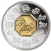 2002 Canada $15 Year of the Horse Sterling Silver & Gold Cameo (lightly toned)