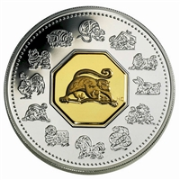2004 Canada $15 Year of the Monkey Sterling Silver & Gold Plated Cameo (lightly toned)