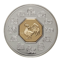 2005 Canada $15 Year of the Rooster Sterling Silver & Gold Plated Cameo (lightly toned)
