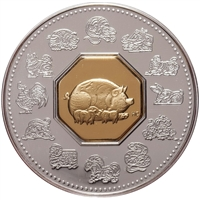 2007 Canada $15 Year of the Pig Sterling Silver & Gold Plated Cameo (lightly toned)