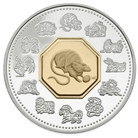 2008 Canada $15 Year of the Rat Sterling Silver & Gold Plated Cameo (Lightly toned)