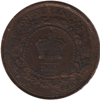 1861 New Brunswick 1 Cent Almost Uncirculated (AU-50)