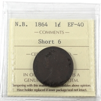 1864 Short 6 New Brunswick 1-cent ICCS Certified EF-40