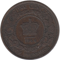 1864 Short 6 New Brunswick 1 Cent Extra Fine (EF-40)