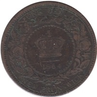 1864 Short 6 New Brunswick 1 Cent F-VF (F-15)