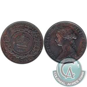 1864 Short 6 New Brunswick 1 Cent VF-EF (VF-30)