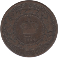 1864 Tall 6 New Brunswick 1 Cent VG-F (VG-10)
