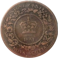 1861 Small Bud Nova Scotia 1 Cent VG-F (VG-10)