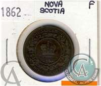 1862 Nova Scotia 1 Cent Fine (F-12) $