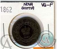 1862 Nova Scotia 1 Cent VG-F (VG-10) $