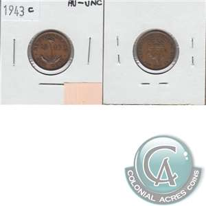 1943C Newfoundland 1-cent Almost Uncirculated (AU-50)