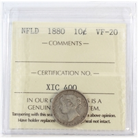 1880 Newfoundland 10-Cents ICCS Certified VF-20