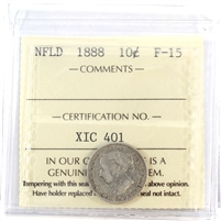 1888 Newfoundland 10-Cents ICCS Certified F-15