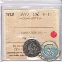 1890 Newfoundland 10-cents ICCS Certified F-15