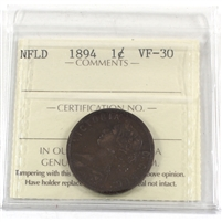 1894 Newfoundland 1-cents ICCS Certified VF-30