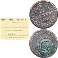 1896 Newfoundland 10-cents ICCS Certified F-15