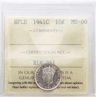 1941C Newfoundland 10-cents ICCS Certified MS-60