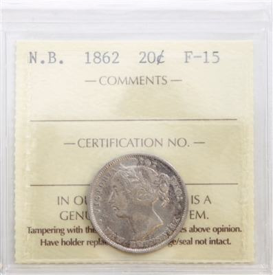 1862 New Brunswick 20-Cents ICCS Certified F-15