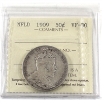 1909 Newfoundland 50-Cents ICCS Certified VF-30