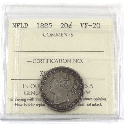 1885 Newfoundland 20-cent ICCS Certified VF-20