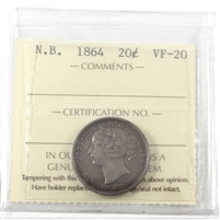 1864 New Brunswick 20-cents ICCS Certified VF-20