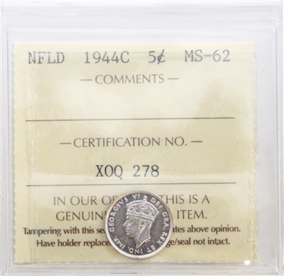 1944C Newfoundland 5-Cents ICCS Certified MS-62