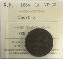 1864 Short 6 New Brunswick 1-cent ICCS Certified VF-30