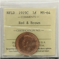 1919C Newfoundland 1-cent ICCS Certified MS-64 Red & Brown (XQL 170)
