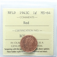 1943C Newfoundland 1-cent ICCSCertified MS-64 Red (XCE 838)