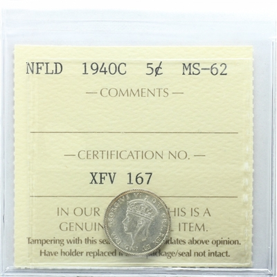 1940C Newfoundland 5-cents ICCS Certified MS-62