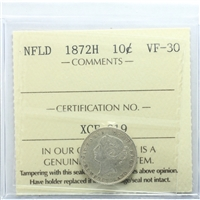 1872H Newfoundland 10-cents ICCS Certified VF-30
