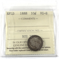 1888 Newfoundland 10-cents ICCS Certified VG-8